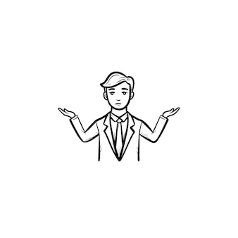 Confused businessman hand drawn outline doodle vector icon. man in confusion sketch illustration for print, web, mobile and infographics isolated on white background.