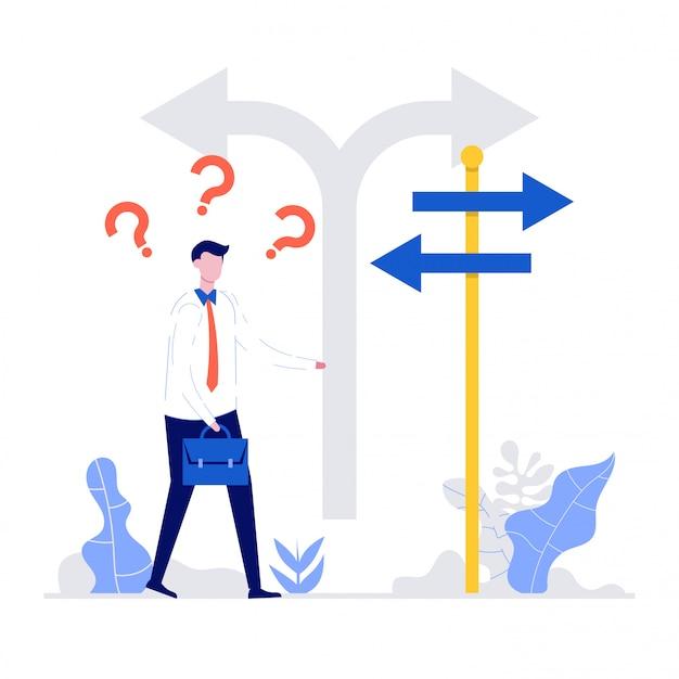 岐路に立って、方向標識の矢印を探して混乱している実業家。選択、キャリアパスまたは機会、ビジネスコンセプトの決定のシンボル。
