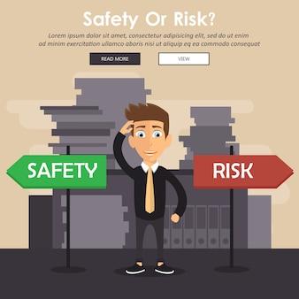 安全とリスクの兆候の隣に立っている混乱した実業家