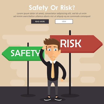 Confused businessman standing next to safety and risk signs
