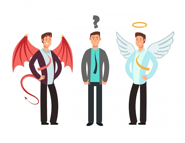 Confused businessman with angel and devil over shoulders. choose vector concept