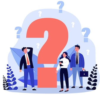 Confused businesspeople asking questions