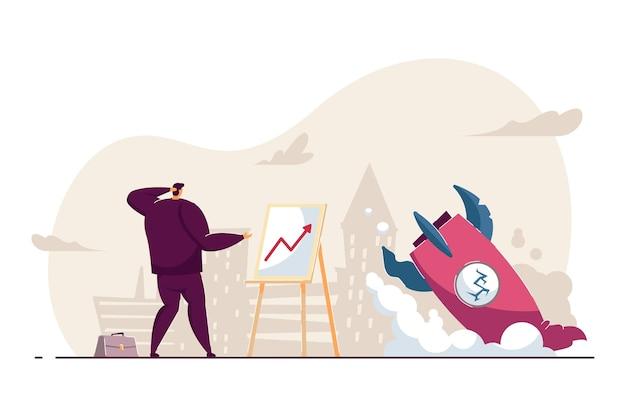 ビジネスの失敗に直面している混乱した従業員。フラットベクトルイラスト。破産または戦略を象徴する押しつぶされたロケットの近くの図を見ているビジネスマンは失敗します。ビジネス、スタートアップ、問題の概念