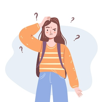 Confused girl young woman standing in doubt thinking of dilemma isolated teenager illustration
