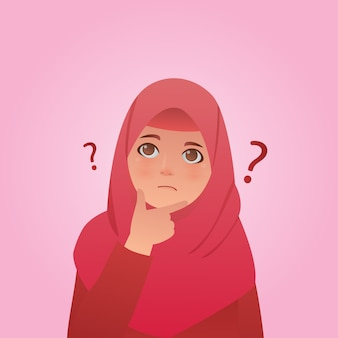 Confused hijab girl portrait illustration
