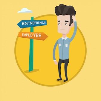 Confused man choosing career pathway.