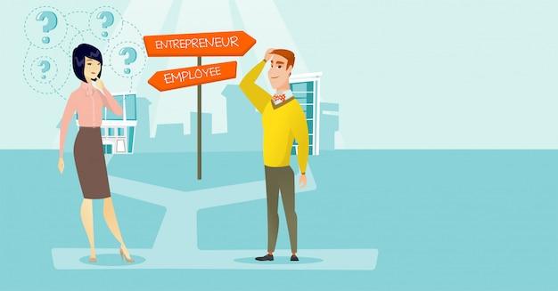 Confused man and woman choosing career pathway.