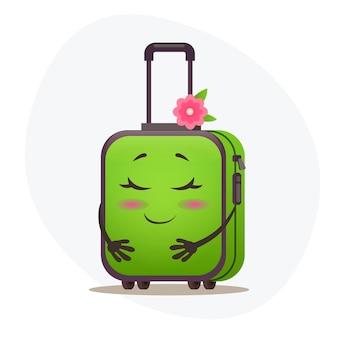 Смущенный средний зеленый чемодан на колесах и штемпели на пластиковом корпусе, мечтающий об отпуске