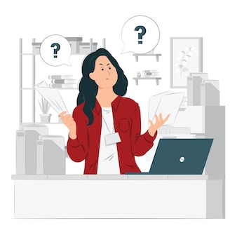 Confused office lady with question marks and while looking at paperwork concept illustration