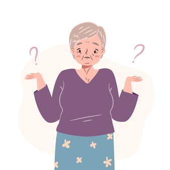 Confused senior woman standing in doubt thinking of dilemma puzzled elderly lady shrugging