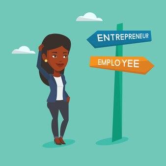 Confused woman choosing career pathway.