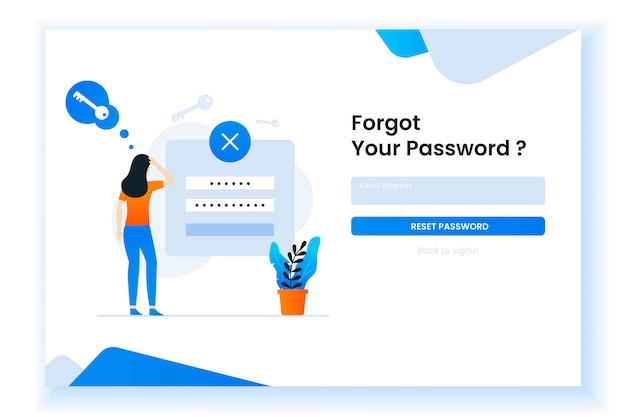 Confused woman forgetting her password illustration for web page