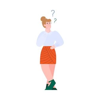 Смущенная женщина, стоящая среди вопросительных знаков плоской иллюстрации