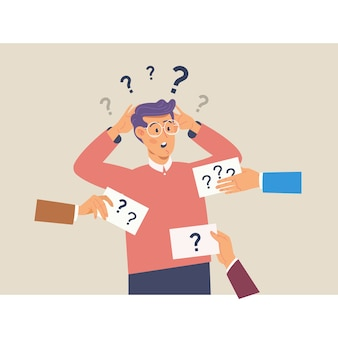 Confusing cute man with question marks above his head