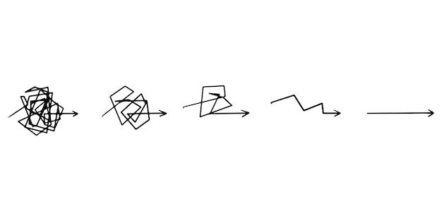 혼란 명확성 또는 경로 벡터 아이디어 개념입니다. 콤플렉스 단순화. 어렵고 쉬운 길처럼 지저분한 선. 낙서 벡터 일러스트 레이 션.