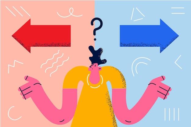 混乱、欲求不満、質問の概念。疑いのベクトル図を感じて左または右方向を選択しようとして立っている若い欲求不満の男