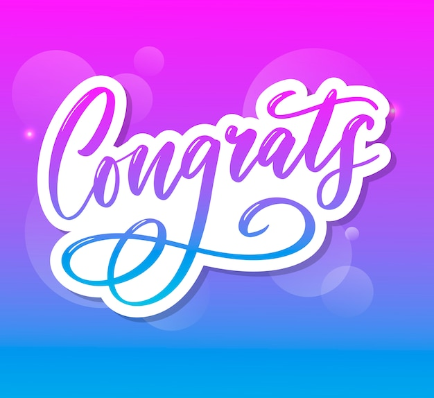 Congrats congratulations card lettering calligraphy text brush