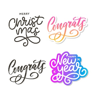 Congrats congratulations christmas new year card lettering calligraphy text brush