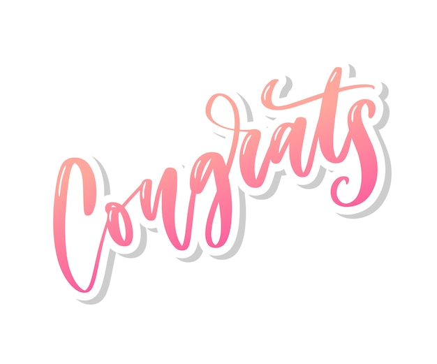 Congrats hand written lettering for congratulations card, greeting card, invitation, and print