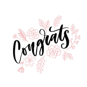 Congrats hand written lettering for congratulations card, greeting card