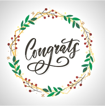 Congrats lettering in christmas wreath