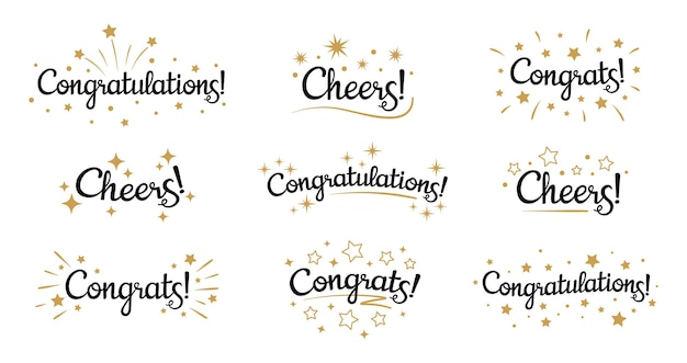 Congrats lettering. congratulation text labels, cheers sign decorated with golden burst and stars and congratulations