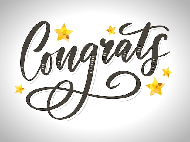Congrats lettering with stars