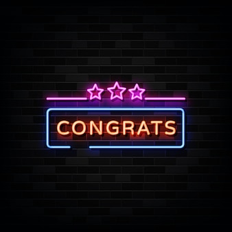 Congrats neon signs .  template neon sign