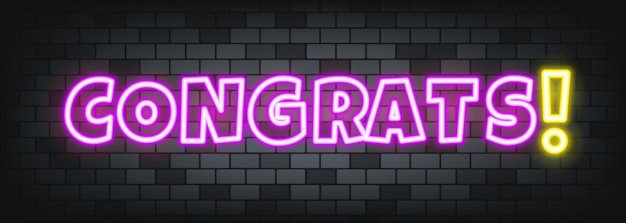 Congrats neon text on the stone background. congrats. for business, marketing and advertising. vector on isolated background. eps 10.