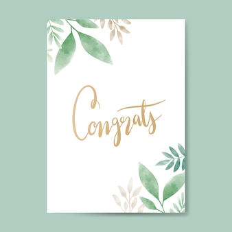 Congrats watercolor card design vector