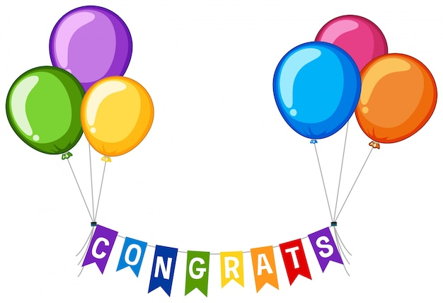 Дизайн фона со словом congrats и цветными воздушными шарами