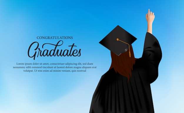 Congratulation academy concept with women put on gown and graduation caps