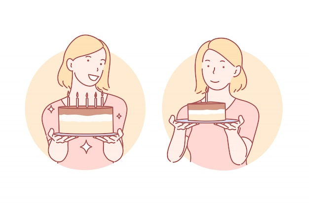 Congratulation, birthday cake set illustration