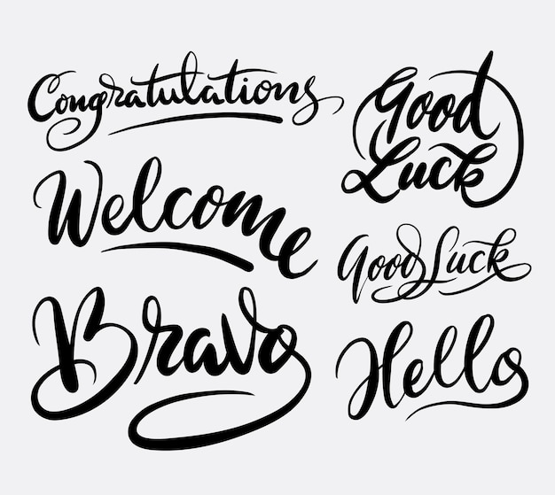 Congratulation and good luck handwriting calligraphy