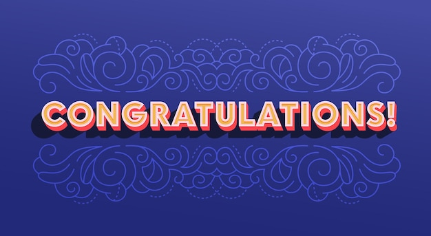 Congratulation greeting card with ornamental print on deep blue