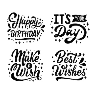 Congratulation and greetings lettering collection
