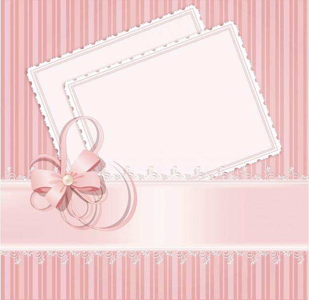 Congratulation pink background with lace, ribbons, bows