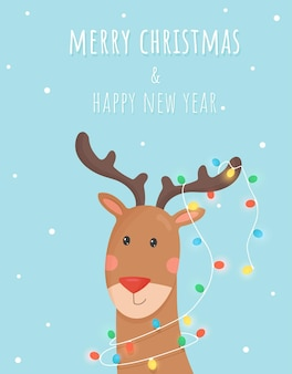 メリークリスマスと新年あけましておめでとうございます。花輪と鹿のイラスト