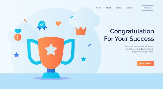 Congratulation for your success trophy winner icon campaign for web website home page landing template with cartoon style