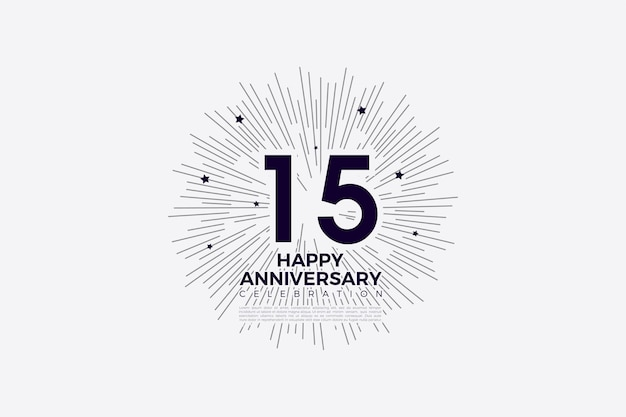 Congratulations for the 15th anniversary background with numbers and striped background illustration