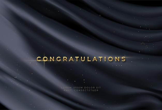Sfondo di congratulazioni con scritte in oro