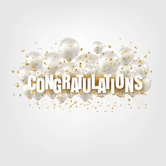 Congratulations card and white balloons on white