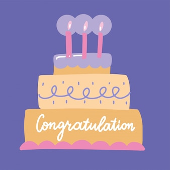 Congratulations lettering on a big bday cake with burning candles - hand drawn flat   illustration