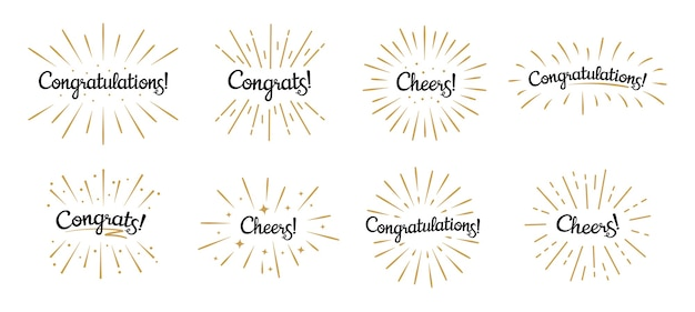 Congratulations lettering. congrats label, cheers celebration and congratulation text badges with golden burst