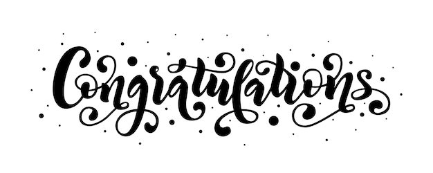 Congratulations lettering quote. vector illustration.