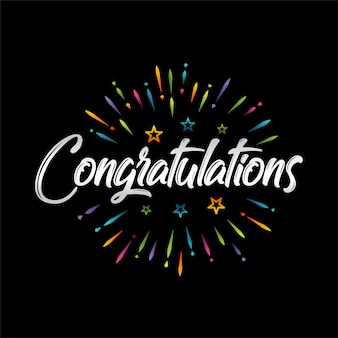 Congratulations lettering vector illustration for greeting