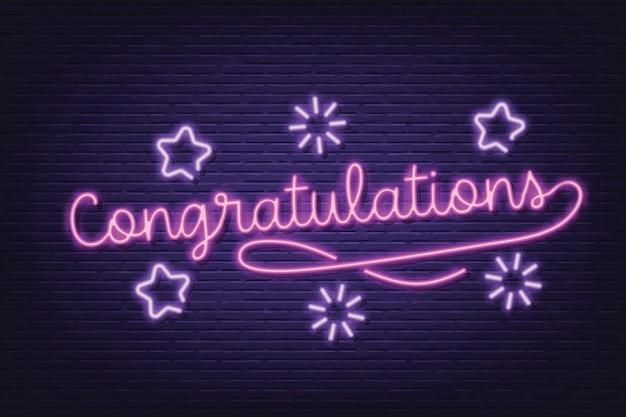 Congratulations neon signboard banner