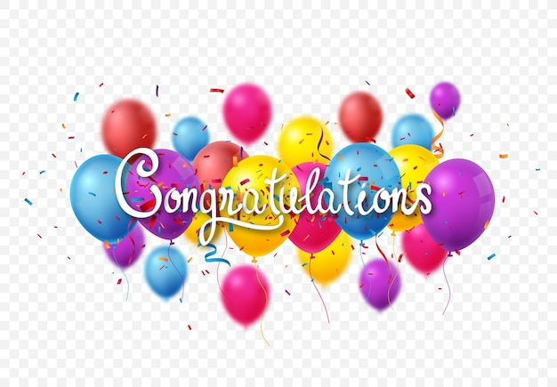 Congratulations sign letters banner with colorful confetti and balloon