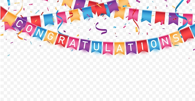 Congratulations sign letters banner with  confetti