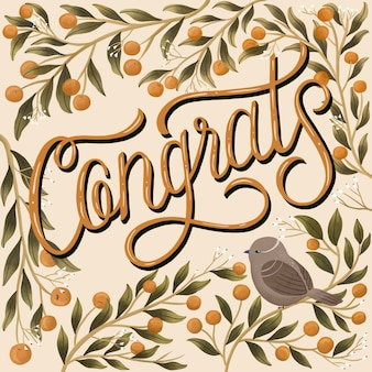 Congratulations typographic with hand-drawn decoration